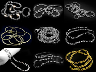 Large Set of Jewelery Photos - Chains - Stainless Steel