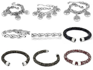 Jewelry photo set - Bracelets - Silver stainless steel