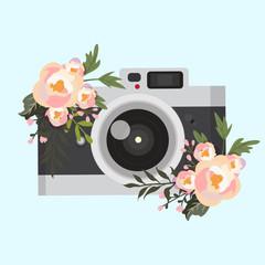 vintage camera in flowers