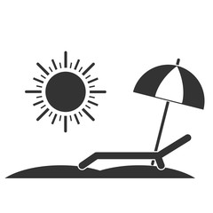 Chaise-longue line icon. Deck-chair, sun and umbrella on a beach. Relaxation, travel, vacation symbol. Vector illustration