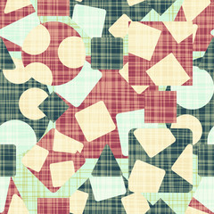 Retro design cloth with geometric shapes. Vector illustration. Rhombus, square, triangle and circle.