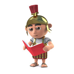 Vector 3d Roman soldier reading a book