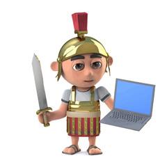 Vector 3d Roman centurion soldier has a laptop pc device