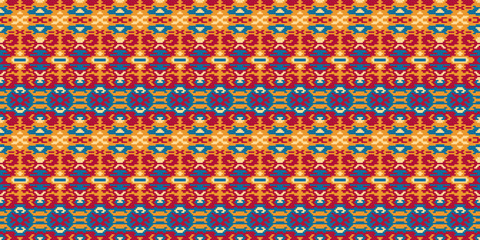 Horizontal seamless pattern winter design. Ethnic textile print. Vector fashion background.
