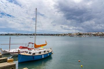 Mallorca, Original natural port area of porto colom with many fishing boats