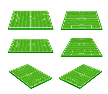 Green soccer field on white background 002
