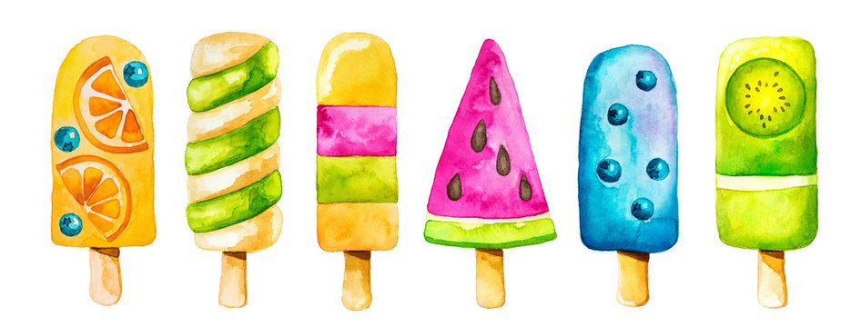 Watercolor clip art set with colorful icecream