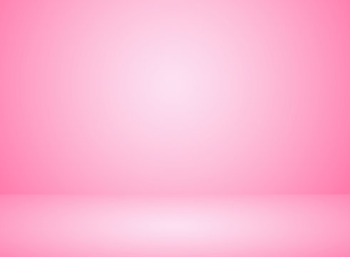 Studio room interior pink color background with lighting effect.