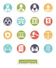 Law enforcement round color icon set