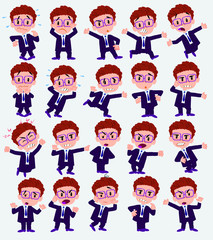 Cartoon character businessman with glasses. Set with different postures, attitudes and poses, always in positive attitude, doing different activities in vector vector illustrations.