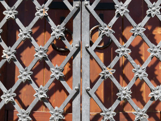 Ornamental metal lattice on the background of wooden doors. Vintage lattice and wooden gates on facade of ancient building