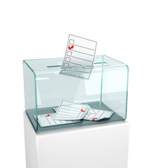 Elections, voting. Putting the newsletter in a glass box. 3d illustration