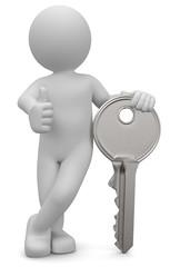 3D Männchen mit Schlüssel