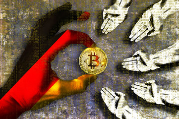 Bitcoin cryptocurrency Germany flag Golden Coin of Bitcoin in the German flag hand giving coin in to hands of poor people Grunge background with binary code of matrix effect