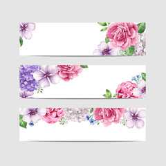 Floral banner template. Flowers in watercolor style isolated on white background.