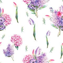 Watercolor seamless pattern with various flowers and leaves. Hand painted repeating background with floral elements, lilac branches, hydrangea, tulip flowers. Garden style texture