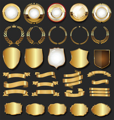 Golden retro labels badges frames and ribbons collection