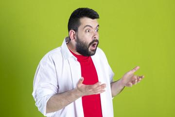 Bearded guy very surprised