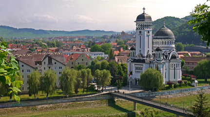 View of the town of Sighisoara stock images. Holy Trinity Orthodox Cathedral in Sighisoara. Sighisoara Romania. Sighisoara old town. Old houses in Romania. Ancient architecture in Transylvania
