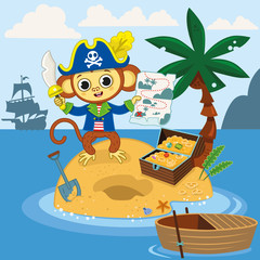 Pirate monkey found the treasure chest with his map on an island. Vector illustration.