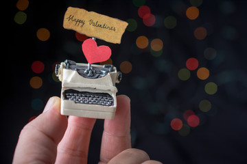 Love concept for valentine's day on  typewriter