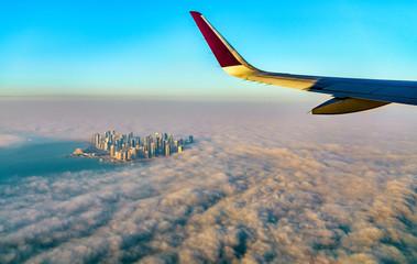 Flying above Doha - Qatar, the Persian Gulf