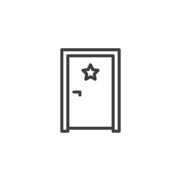 Dressing room door outline icon. linear style sign for mobile concept and web design. Door with star simple line vector icon. Symbol, logo illustration. Pixel perfect vector graphics
