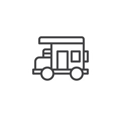 Caravan outline icon. linear style sign for mobile concept and web design. Camping car simple line vector icon. Symbol, logo illustration. Pixel perfect vector graphics