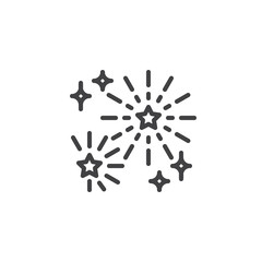 Fireworks outline icon. linear style sign for mobile concept and web design. Firework stars simple line vector icon. Symbol, logo illustration. Pixel perfect vector graphics