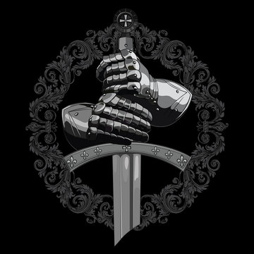 Knight design. Armour gloves of the knight, shield and the sword of the Crusader