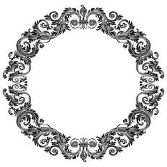 Vintage baroque ornament, retro pattern antique style