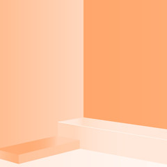 3d minimal abstract light brown background wall corner scene square podium 3d rendering