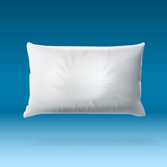 White Soft Pillow On Blue Background With Shadow