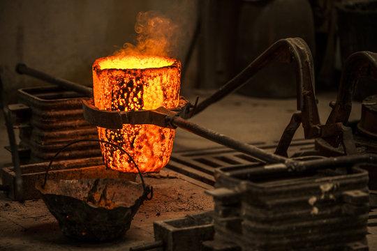blacksmith cauldron on fire
