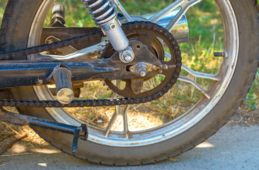 rear wheel of motorcycle, drive chain