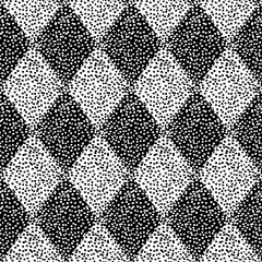 Seamless black and white pattern. Prints for textiles. Vintage grunge background. Geometric elements in the form of a diamond.