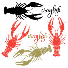 Crayfish.Silhouette.Hand drawn vector illustration, isolated  elements for design on white background.