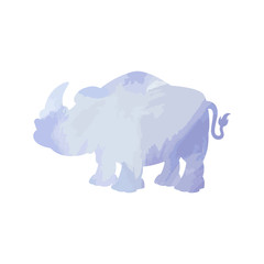Rhinoceros art watercolor isolated. Vector