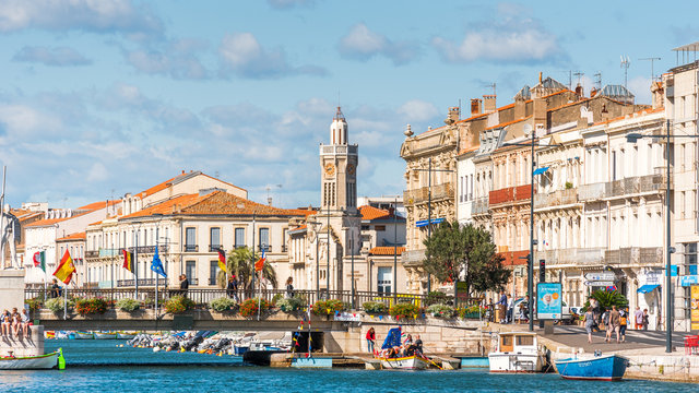 SETE, FRANCE - SEPTEMBER 10, 2017: View of the royal canal in Sete. Copy space for text.