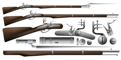 A musket with a bayonet. Illustration of an old gun. Part of the weapon. Vector EPS 10.