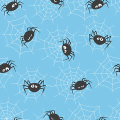 Seamless vector pattern with cute spiders and spider webs. Halloween theme.