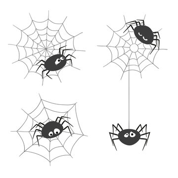 Set of cute cartoon spiders and spiderwebs isolated on white background. Vector illustration.