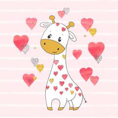 Cute cartoon giraffe with hearts. Vector childish illustration.