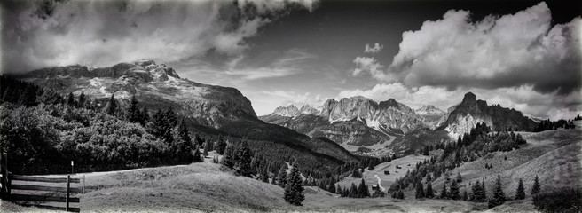 dolomites mountains landscape in black and white