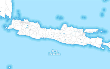 Two-toned map of the island of Java, Indonesia