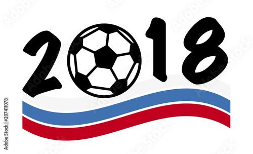 Fussball Wm 2018 Emblem Jahreszahl Mit Fussball Und