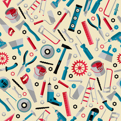Working tools background labor day seamless pattern
