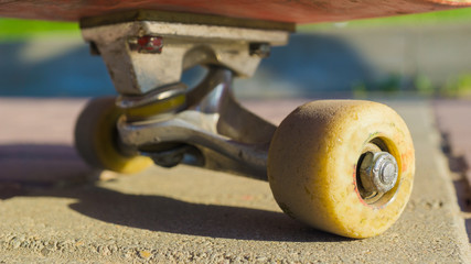 fe8e65d4 Close up skateboard wheel on truck. professional extreme sport devices and  demonstration skateboarding elements.