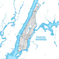 Map of the island of Manhattan, New York City
