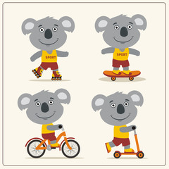 Set of isolated funny koala bear on bike, skateboard, scooter and roller skates.